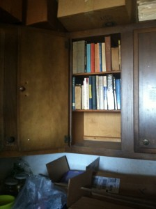 Leonard Frank's kitchen cabinets-filled with books,